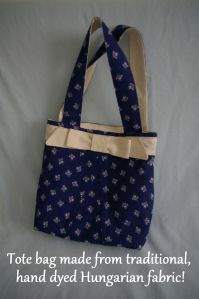 Tote bag made using blue and white hand printed fabric from Hungary! Made by FabRita