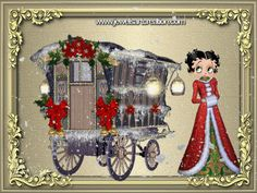 Christmas - Betty Boop - with old fashioned Traveller Caravan
