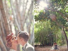 bride and groom #roaringtwenties #themedweddings love the hairpiece, as well as the orange orchard, gorgeous, and so much more Californian than just a winery, which is something i thought i wanted