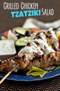 Grilled Chicken Tzatziki Salad | heatherlikesfood.com