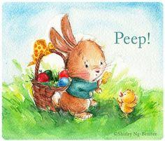 Peep!  a bunny with Easter basket - Shirley Ng Benitez