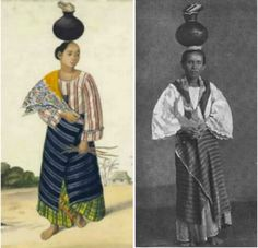 Left: Woman milk vendor, 1858 (via Filipinas Heritage Library) . Right: A woman selling milk, 1880's. Milkmaid in 19th century Manila