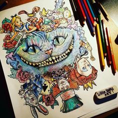 Trendy Tattoo Disney Alice In Wonderland Ideas Ideas Disney Drawings, Cartoon Drawings, Cartoon Art, Cute Drawings, Drawing Sketches, Tattoo Sketches, Drawing Ideas, Pencil Drawings, Disney Kunst