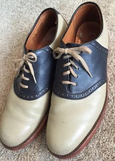 Cole Haan Vintage Men's Blue Beige Oxford Lace Up Saddle Shoes EUC Size 8 5  |