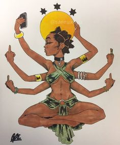 Go fuck yerself. Oh, and Namaste. African American Art, African Art, Dope Kunst, Art Sketches, Art Drawings, Pencil Drawings, Art Et Design, Black Art Pictures, Beautiful Pictures