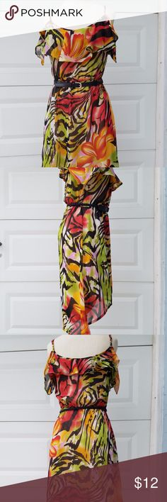 Safari Dress with belt size medium Safari dress with belt size medium off the shoulder with spaghetti straps  very colorful and bright great to dress up or down Dresses