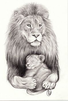 lion with sleeping cub by d angeline designs interfaces tattoo design ...