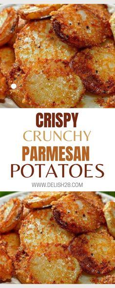 Crispy Crunchy Parmesan Potatoes Side Dish Recipes, Vegetable Recipes, Soup Recipes, Cooking Recipes, Parmesan Crusted Potatoes, Crispy Baked Potatoes, Cheese Potatoes, Baby Potatoes, Baby Potato Recipes