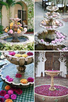 Decoración zonas de agua en bodas 2 fuentes flores pétalos