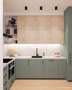 Kitchen Room Design, Modern Kitchen Design, Home Decor Kitchen, Interior Design Kitchen, Kitchen Furniture, Home Kitchens, Interior Modern, Ikea Kitchens, Green Interior Design