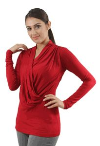 Striking red cowl tunic top. Versatile maternity and breastfeeding top-dress it up or down. Perfect for a #ValentinesDay  $59 #maternitytop #nursingtop  http://www.mothersboutique.com/cowlfront.html