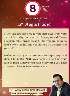 #Numerology predictions for 12th August'16 by Dr.Sanjay Sethi-Gold Medalist and World's No.1 #AstroNumerologist.