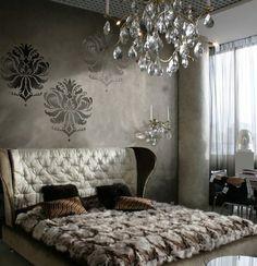 Bedroom. Metallic. Chandelier. Fur. >>>add dark plum navy or a deep wine red