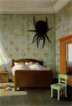 A great thing about sleep is that there are a few good hours each day where you don't have to worry about what's going on around you.  (Painting  Michael Sowa)