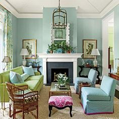 Blue Living room with Green and Pink Accents. Pull Out a Bold Accent Color - 102 Living Room Decorating Ideas - Southern Living Living Room Green, Living Room Colors, Home And Living, Living Room Designs, Aqua Blue Rooms, Small Living, Blue Living Room Walls, Cozy Living, Living Area