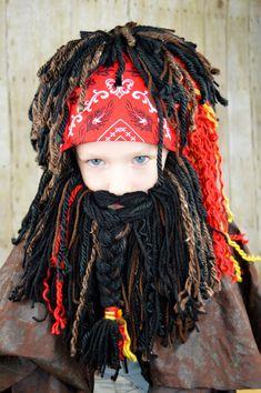 66c99bf1598 Pirate Beard Wig Boy Halloween Costumes Pirate Headpeice Photo Prop Pirate  Beanie