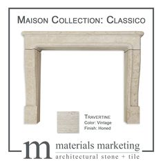 The Maison Fireplace Collection features three different fireplace models. It is available in three Travertine colors, in a honed finish. These are in-stock and ready to ship. Pictured here is the Classico model, in Vintage Travertine. Have a different vision? No problem, send us your inspiration picture and we can create your vision from over 40 stone options or modify one of our existing models. Please visit our website for details or contact info@materials-marketing.com Architectural Materials, Custom Fireplace, Traditional Fireplace, Fireplace Surrounds, Stone Carving, Travertine, Natural Stones, Entryway Tables, Mosaic