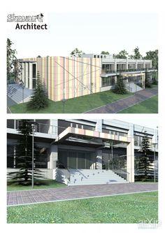 Медиа-центр: архитектура, зd визуализация, 2 эт | 6м, хай-тек, гостиница, мотель, 1000 - 3000 м2, фасад - дерево, здание, строение, фасад - алюминиевые панели, архитектура #architecture #3dvisualization #2fl_6m #hitech #hotel #motel #1000_3000m2 #facade_wood #highrisebuilding #structure #facade_thealuminumpanels #architecture arXip.com