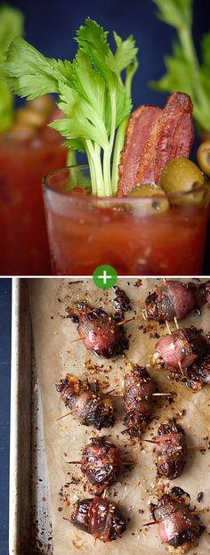 Bacon Bloody Marys + Cheesy Bacon-Wrapped Dates