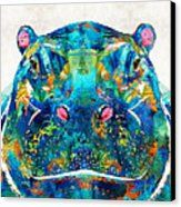 Colorful Hippo Art PRINT by Sharon Cummings from an original design. A delight for the hippo lover or cute animal connoisseur. Zoo Animals, Cute Animals, Wild Animals, African Babies, Large Artwork, Colorful Artwork, Thing 1, Colorful Animals, Buy Art Online