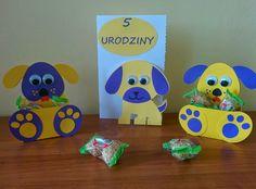 Pieskowa rodzinka - ręcznie wykonana kartka i pudełka - pomysł na urodziny dla dziecka