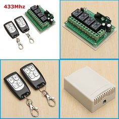 DIY 12V 4CH Channel 433Mhz Wireless Remote Control Switch With 2 Transmitter #UnbrandedGeneric
