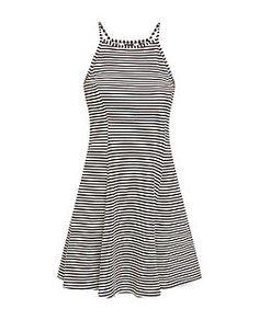 Black Stripe High Neck Swing Dress  | New Look
