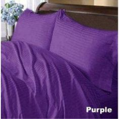 Royal Home Collection 600 Thread Count Duvet Cover Set + Fitted Sheet Twin Extra Long Bed Size, Purple Stripe Egyptian Cotton Bed Duvet Covers, Duvet Sets, Duvet Cover Sets, Bed Sets, Bed Bath & Beyond, Pottery Barn, Egyptian Cotton Duvet Cover, Ikea, Cotton Sheets