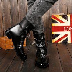 2016 winter warm black boots male 38-44 plus size British thick shoes men side zipper casual short boots fashion