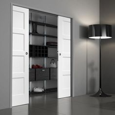 Bespoke Frameless Double Pocket Door sets for those with odd opening sizes looking for a flawless finish and with our beautiful range of doors from XL Joinery you can be sure that only the highest of quality is provided. Double Pocket Door, Pocket Door Frame, Glass Pocket Doors, Internal Sliding Doors, Sliding Pocket Doors, Tall Cabinet Storage, Locker Storage, Door Fittings, Shaker Doors