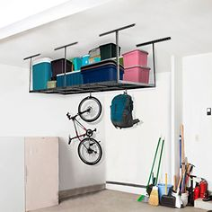 FLEXIMOUNTS ft Racks Package Heavy Duty Overhead Garage Adjustable Ceiling Storage Rack, Length x Width x Height (Black) - Well built, great Ceiling Storage Rack, Overhead Storage Rack, Storage Racks, Rack Shelf, Garage Storage, Miter Saw Reviews, Solar Panels For Sale, Stair Climbing, Garage Cabinets