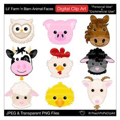 barn animal faces clip art digital clipart pig horse cow sheep - Lil Farm n Barn Animal Faces - Digital Clip Art - Personal Commercial Use on Etsy, $5.00