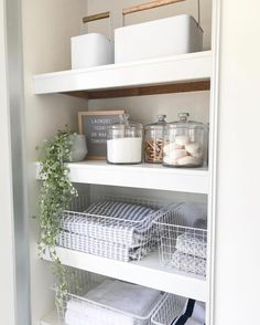 Happy Sunday 🌿 I finished our linen closet/laundry storage today and I'm so happy with the end result 🙈 in our new house we don't have a… Small Linen Closets, Bathroom Linen Closet, Bathroom Closet Organization, Bathroom Organisation, Small Bathroom, Organization Ideas, Storage Ideas, Airing Cupboard Organisation, Bathroom Ideas