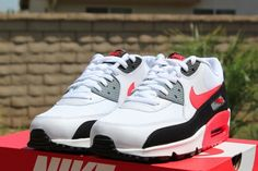 Nike Air Max 90   White / Challenge Red   Cool Grey   Black