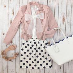 Bows, polka dots, scallops and blush pink jacket // StylishPetite.com