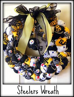 Hybrids and electric cars pittsburgh steelers wreath, pittsburgh steelers cheerleaders, pittsbur Pittsburgh Steelers Cheerleaders, Pittsburgh Steelers Football, Go Steelers, Steelers Stuff, Broncos, Wreath Crafts, Diy Wreath, Wreath Ideas, Fabric Wreath