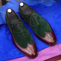 Handmade Special Design Luxury Brown Green Suede by UstabasShoes, $389.00
