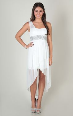 one shoulder illusion dress with chunky stone waist and high low skirt