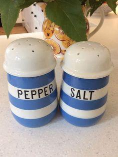 Cornishware T.G Green Salt & RARE Pepper Shakers. In Beautiful Condition.