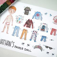 I illustrated a paper doll for my nephew Nathan! I got my mom to send me photos of his real clothes so I could illustrate them. He's turning 4 so my mom is gonna laminate everything and put sticky tak on the clothes so he can play with the doll more easily. His birthday is on Saturday. I wrote more about it here (including more photos): http://ift.tt/2Bfw39u. . . #art #sketch #artwork #gouache #watercolor #traditionalart #paperdoll #toy #children #birthday #artsy #artist #artistsoninstagram…