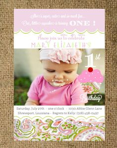 Baby Girl First Birthday Invitation Pink and Green Paisley on Etsy, $21.64 AUD
