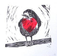 Big Hearted Robin Lino Cut Print