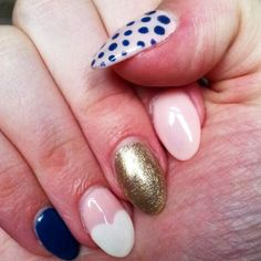 dots, nails, navy blue, gold, pale pink, white heart, design, spring