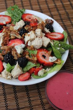 Gourmet Pear & Berry Salad--a great way to welcome the warmer spring weather with a healthy, spring salad ;)  Deals to Meals