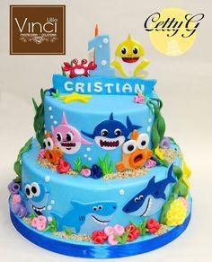 Birthday Cake Kids Boys, Shark Birthday Cakes, Baby Boy 1st Birthday Party, First Birthday Cakes, Shark Party Decorations, 1st Birthday Girl Decorations, Bolo Fack, Shark Cake, Baby Boy Cakes