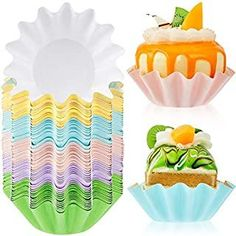 100 Pieces Wave Cupcake Liners Wrappers Flared Paper Baking Cups Disposable Muffin Liners for Muffins Baking, Cupcakes or Mini Snacks