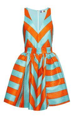 Striped Raffia V-Neck Dress by MSGM - Moda Operandi