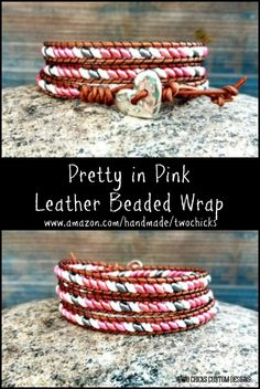 Pink Superduo Leather Beaded Wrap Bracelet designed and created by Two Chicks Custom Designs Pink Leather, Leather Cord, Beaded Leather Wraps, Beaded Wrap Bracelets, Bracelet Designs, Pretty In Pink, Seed Beads, Jewerly, Beading
