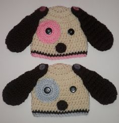 Boy and Girl Twin Baby Gifts | Twin baby boy and girl crochet puppy dog beanie hats ... | baby gifts
