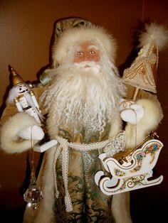 The Santamaker's Collection Father Christmas, Christmas Holidays, Christmas Crafts, Christmas Decorations, Original Santa Claus, Santa Doll, Tapestry Fabric, Christmas Scenes, Vintage Santas
